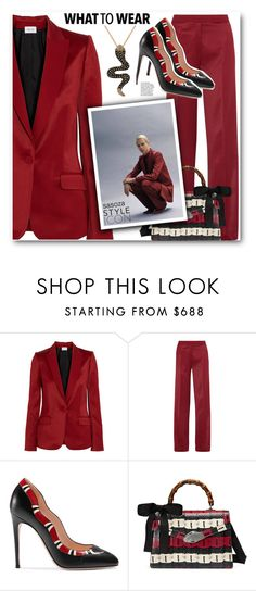 """Favorite red by Sasoza"" by sasooza ❤ liked on Polyvore featuring PALLAS, Gucci and Effy Jewelry"