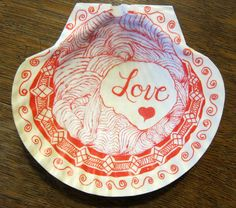 Shell, Valentine, LOVE, Romantic! OOAK Fancy Unique Gift Zentangle Inspired sea Shell Art
