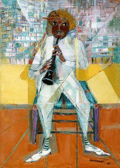 """Cândido Portinari (1903 - 1962) Pintor brasileño. Sus obras tienden a representar a los brasileños y sus rasgos sociales y culturales. """"Clarinetista"""""""
