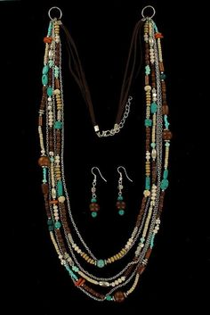 Blazin Roxx Womens Wooden Beads Jewelry Necklace Earrings Set 29938