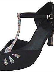 9984da4e1 Women's Flocking / Sparkling Glitter Latin Shoes / Salsa Shoes Sparkling  Glitter / Buckle Sandal / Heel Customized Heel Customizable Black / Indoor  / ...