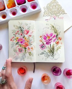 I think I've decided that I do my best doodles from my bed... . . . #doodle #dsfloral #watercolors #floral #watercolorfloral #paints #art #journal #sketchbook #moleskine by @songdance design on Instagram