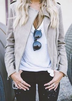 #fall #fashion / jacket + jeans