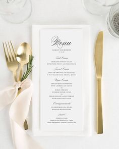 Compliment your wedding reception with these elegant and timeless wedding menus. This design matches our Elegant Romance suite. Perfect for wrapping in a napkin Shine Wedding Invitations, Wedding Menu Cards, Wedding Dinner Menu, Wedding Paper, Wedding Stationery Fonts, Gold Wedding, Floral Wedding, Simple Wedding Menu, Dream Wedding