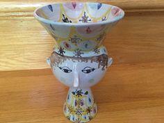 "Large Bjorn Wiinblad Head Face Vase 8 3/4"" Denmark"