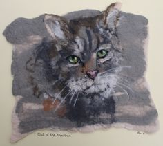Out Of The Shadows, felted picture of a cat, mounted ready to frame by…