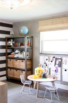 Boy& Room Layout + Lego Table // Love the bookcase and the way the art is displayed! Kids Table And Chairs, Kid Table, Play Table, Playroom Curtains, House Tweaking, Modern Playroom, Lego Table, Boys Bedroom Decor, Baby Bedroom