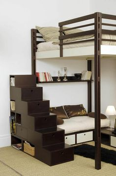 espace loggia lit mezzanine separation piece brick nb. Black Bedroom Furniture Sets. Home Design Ideas
