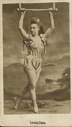Leona Dare [1855-1922], trapeze artist. As part of her act, she would dangle from a hot-air balloon. [Image: New York Public Library]