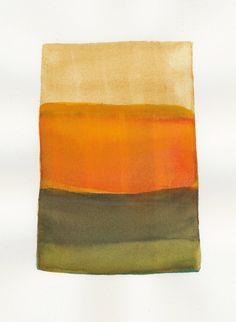 small orange and earth colorblock original watercolor. $45.00, via Etsy. Malissa Ryder at malissasplace