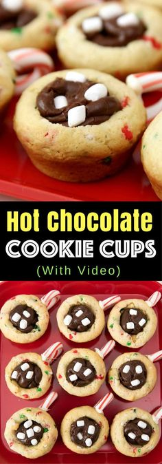 Hot Chocolate Cookie Cups – Quick and easy dessert recipe that's so festive and great for Christmas! All you need is a few simple ingredients: refrigerated sugar cookie dough, holiday sprinkles, white chocolate, candy cane, chocolate chips, condensed milk and mini marshmallows. So cute! Christmas recipe, party food. Video recipe.