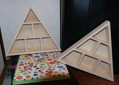 PYRAMID Shaped Wooden Hanging SHELVES - SET of 2.