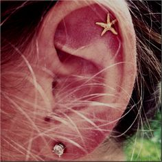 starfish earring that can be worn for a cartilage piercing. preferably with the post not in middle of earring, but to the side so it'll fit my piercing. Bling Bling, Piercings Bonitos, Looks Style, My Style, Starfish Earrings, Bridal Earrings, Crystal Earrings, Gold Earrings, Piercing Tattoo