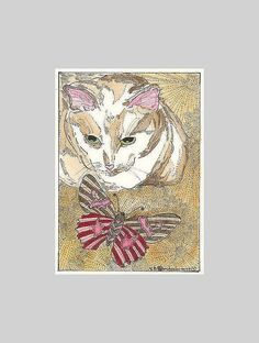 Kitty and Butterfly ACEO  Print  from Theodora by THEODORADESIGNS, $5.00