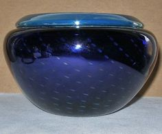 SMALL Signed GRANT RANDOLPH Glass VASE or BOWL 1986 LUSH BLUES Subtly IRIDESCENT