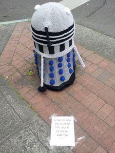 Knitting turns bollard into Dalek