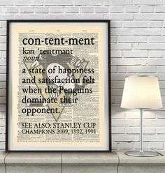 "Pittsburgh Penguins hockey inspired ""Contentment"" ART PRINT Using Old Dictionary Pages, Unframed #penguins #pittsburgh #nhl #giftforhim"
