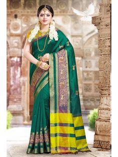 Friendly Jade Green Aninmal Printed Boredered Silk Saree