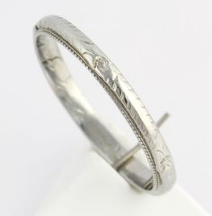 Art Deco Wedding Band Polished Vintage Ring - 18k White Gold High from wilsonbrothers on Ruby Lane