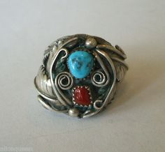 HUGE Vintage NAVAJO Sterling Silver CORAL & TURQUOISE Mans RING size 10