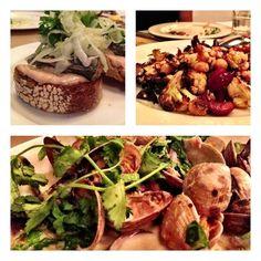 Delish Seattle dnr @ Whale Wins! Sardine toast/fennel,rstd cauliflwr/cherry/almnd/yogurt, clams/greens/lemongrass/crm