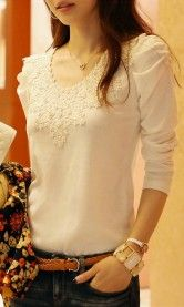 casual fashion shirt lace tops cute elegant long sleeves blouses