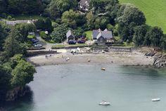 Flushing near Gillan in Cornwall UK aerial image by John Fielding #flushing #gellan #cornwall #beach #aerial