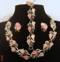 Vintage Pink Moonglow Lucite Thermoset Hearts Necklace Bracelet Earrings Signed ART