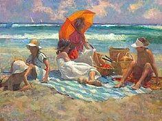 Summer Fun Don Hatfield Olaj, textília ~ 30 x 40