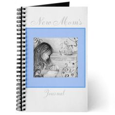 Carousel Dreams Vintage Gray & Blue New Mom's Journal by MoonDreams Music #journal #newmom #babyblue #carouseldreams #moondreamsmusic