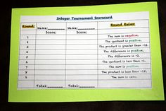 Middle School Math Madness!: Integer Operation Game