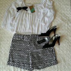 "!!!FLASH SALE!!! Black And White INC Shorts Dress up or go casual with these black and white geometric patterned shorts by International Concepts. NWT, 98% Cotton and 2% Spandex. They are a size 10 with 2 hook and bar closures and a zipper. They are 13 1/2"" long. They would look really cute with black heels and a white shirt! INC International Concepts Shorts"
