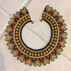 Items similar to Handmade Traditional Colombian Beaded Necklace on Etsy Beaded Collar, Collar Necklace, Beaded Jewelry Patterns, Beading Patterns, Seed Bead Earrings, Crochet Earrings, Diy Jewelry, Handmade Jewelry, African Accessories