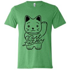 Get Lucky T-Shirt ($25) ❤ liked on Polyvore featuring tops, t-shirts, unisex t shirts, logo top, cat t shirt, green tee and logo tee