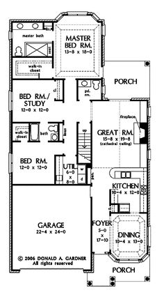 3 bedroom house plans one story no garage houses for House plans for long narrow lots