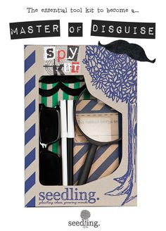 Everything you need to become an undercover spy! The Seedling spy kit includes a magnifying glass, mirror glasses, mustaches, invisible pens & a notebook! Find more dress up activity kits at www.seedling.com