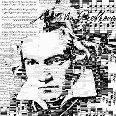 Portrait de Beethoven en utilisant la partition de la sonate nr 8. Réalisé  par Sergio Albiac.
