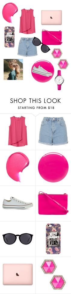 """""""THINK PINK"""" by ehlimana-alihodzic ❤ liked on Polyvore featuring MANGO, Topshop, Eve Snow, Converse, CÉLINE, Yves Saint Laurent, ABS by Allen Schwartz and FOSSIL"""