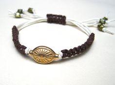 Hemp Bracelet, Friendship Bracelet, Braided Bracelet, Charm, Brown, Cream #bracelets #etsy #hempbracelet #bohobracelet #boho