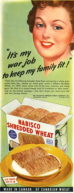 """""""It's by war job to keep my family fit!"""", Nabisco Shredded Wheat"""