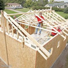 Whether you build your own trusses or order them from the lumberyard, building a roof with trusses is much easier than framing a roof one rafter at a time. As a general rule, you'll need one truss every 2 ft. If you build your own, the cost will be about half this amount. Connect the framing for site-built trusses with plywood gussets glued and screwed to the joints.