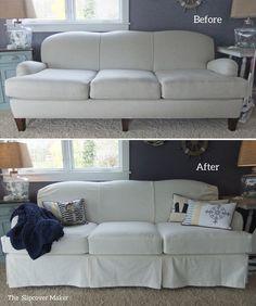 Merveilleux Custom White Denim Slipcover For Art Van Scarlett Sofa.