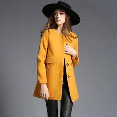 2016 new European fashion mujeres largo invierno de lana de lana de abrigo para las mujeres amarillo
