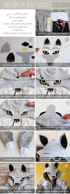 Create this adult DIY Halloween wolf hoodie costume with these simple ideas. Create the ultimate Halloween costume with these great steps. Disfarces Halloween, Wolf Halloween Costume, Homemade Halloween Costumes, Holidays Halloween, Couple Halloween, Big Bad Wolf Costume, Wolf Costume Child, Wolf Costume For Kids, Children Costumes