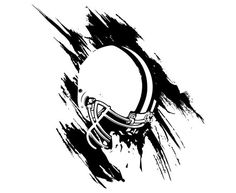 Sports Clipart Image of Black White Football Player