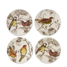 Botanical Bird Salad Plates