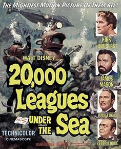 [link] 20,000 Leagues under the Sea is a 1954 American Technicolor adventure film and the first science fiction film shot in CinemaScope. The film was personally produced by Walt Disney through Walt Disney Productions, directed by Richard Fleischer, and stars Kirk Douglas, James Mason, Paul Lukas and Peter Lorre. https://en.wikipedia.org/wiki/20,000_Leagues_Under_the_Sea_(1954_film) (fr=Vingt mille lieues sous les mers)