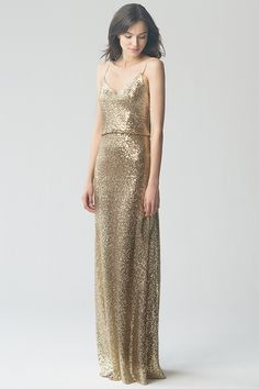 Gold Sequin Bridesmaid Dress by Jenny Yoo, Jules in Gold