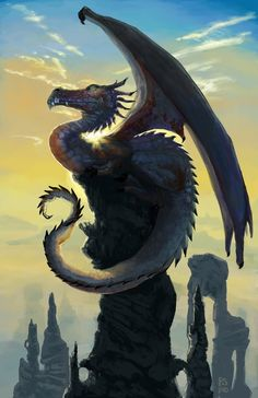 Morning Dragon - A gallery-quality illustration art print by Patricia Smith for sale.