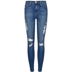 FRAME DENIM Distressed Skinny Jeans (2.010 DKK) ❤ liked on Polyvore featuring jeans, pants, bottoms, jeans/pants, calças, med wash, ripped skinny jeans, denim skinny jeans, destructed skinny jeans and zipper jeans